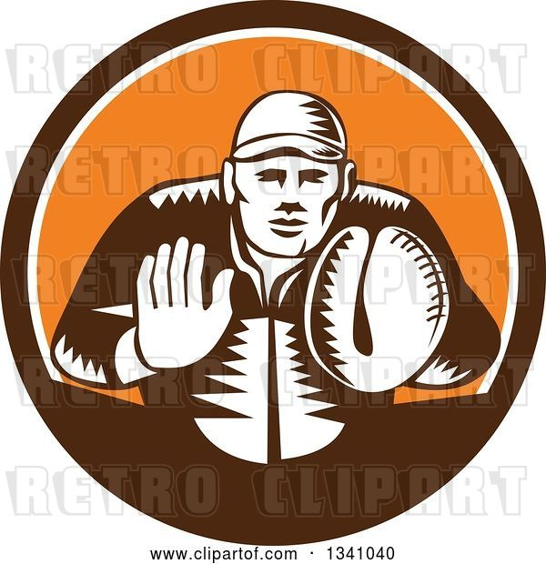 Vector Clip Art of Retro Woodcut Baseball Player Catcher in a Brown White and Orange Circle