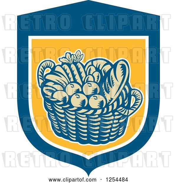 Vector Clip Art of Retro Woodcut Basket of Fruit and Bread in a Blue and Yellow Shield