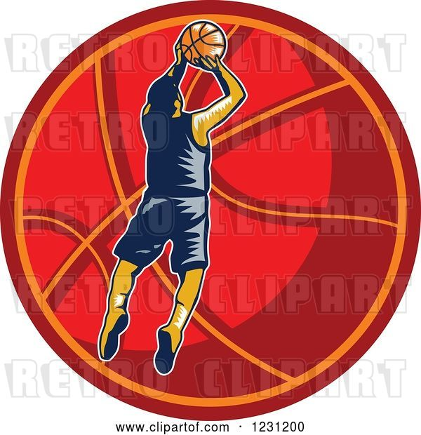 Vector Clip Art of Retro Woodcut Basketball Player Jumping over a Red Ball