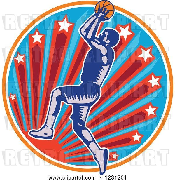 Vector Clip Art of Retro Woodcut Basketball Player Jumping over a Sun and Starburst Circle