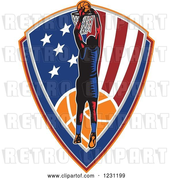 Vector Clip Art of Retro Woodcut Basketball Player Slam Dunking over an American Shield