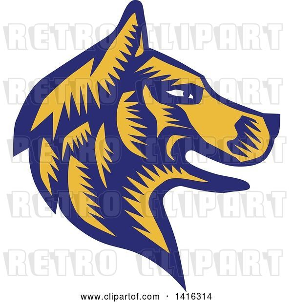Vector Clip Art of Retro Woodcut Blue and Yellow Husky Dog Head in Profile