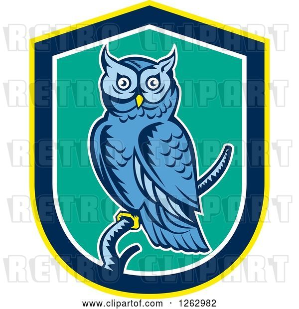 Vector Clip Art of Retro Woodcut Blue Great Horned Owl in a Yellow Blue White and Turquoise Shield