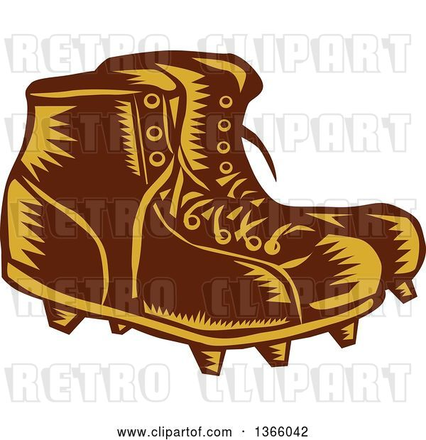 Vector Clip Art of Retro Woodcut Brown and Orange Pair of Rugby Football Boots