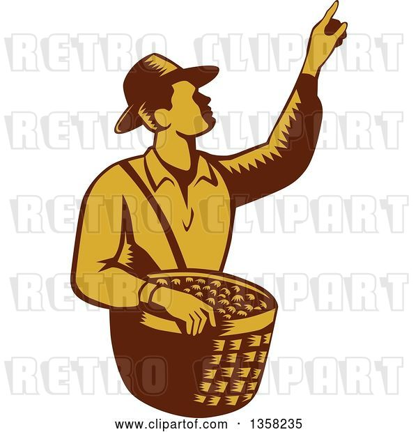 Vector Clip Art of Retro Woodcut Brown and Yellow Male Farm Fruit Picker Worker Pointing and Holding a Basket