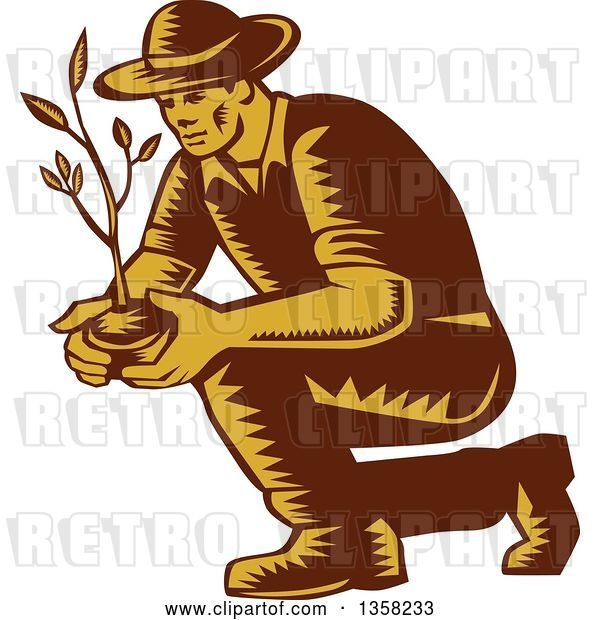 Vector Clip Art of Retro Woodcut Brown and Yellow Male Farmer Planting an Organic Tree or Plant