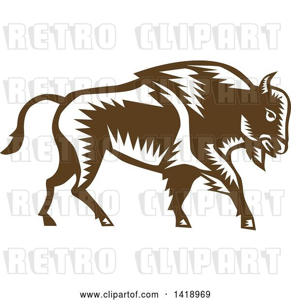 Vector Clip Art of Retro Woodcut Buffalo Bison Walking
