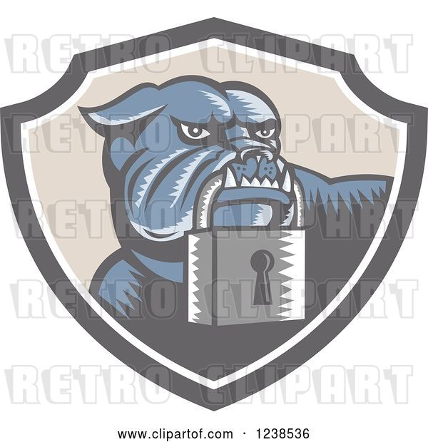 Vector Clip Art of Retro Woodcut Bulldog with a Padlock in a Security Shield