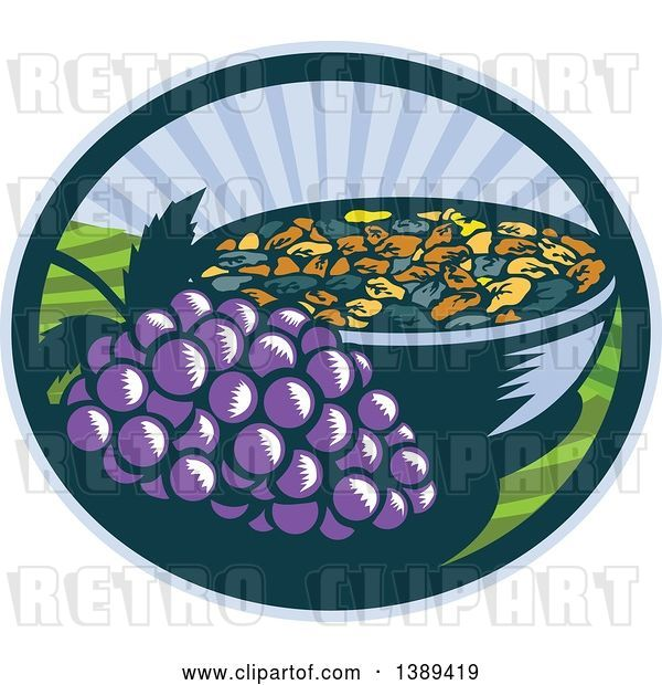 Vector Clip Art of Retro Woodcut Bunch of Purple Grapes by a Bowl of Raisins in an Oval with a Sunrise or Sunset