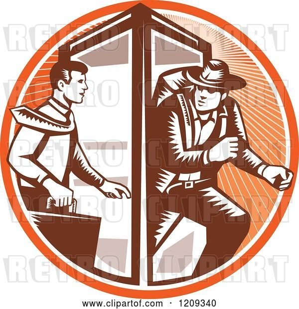Vector Clip Art of Retro Woodcut Business Man Changing to an Explorer in a Phone Booth in an Orange Sunny Circle
