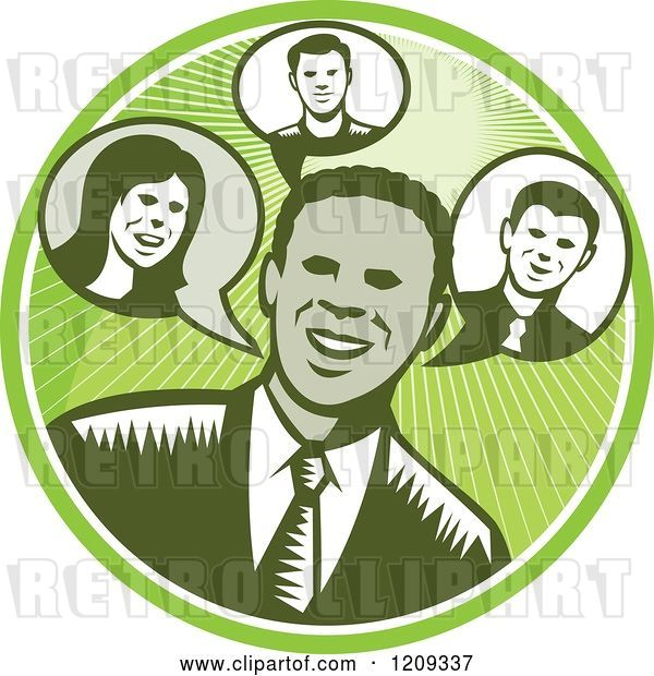 Vector Clip Art of Retro Woodcut Business Man in a Green Sunny Circle