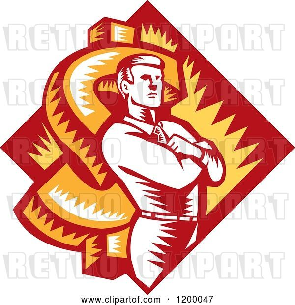 Vector Clip Art of Retro Woodcut Business Man with Folded Arms over a Dollar Symbol and Diamond