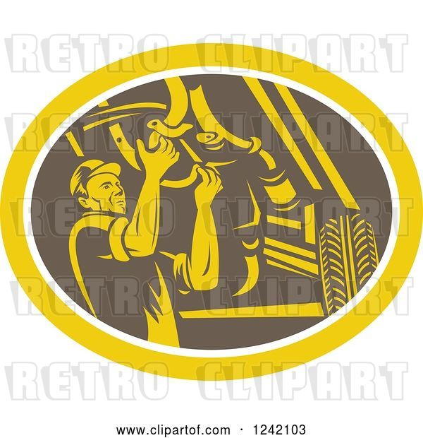 Vector Clip Art of Retro Woodcut Car Mechanic Working Under the Chassis in an Oval
