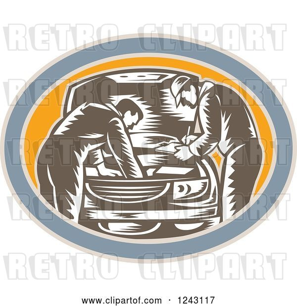 Vector Clip Art of Retro Woodcut Car Mechanics Working on an Engine in an Oval