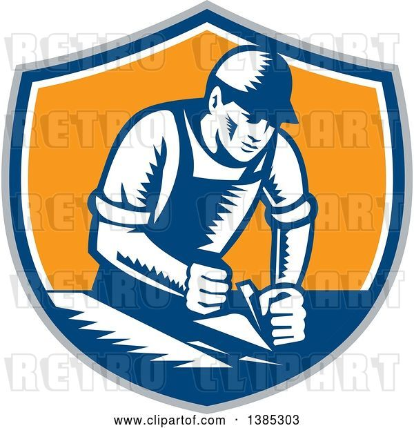 Vector Clip Art of Retro Woodcut Carpenter Wearing a Hat and Overalls, Working with a Smooth Plane on a Wood Surface in a Gray, Blue White and Orange Shield