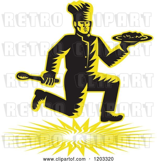 Vector Clip Art of Retro Woodcut Chef Running with a Plate and Spoon