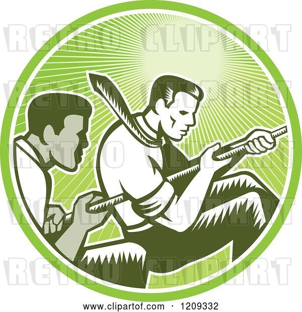 Vector Clip Art of Retro Woodcut Competitive Business Men Working Together in a Tug of War in a Green Sunny Circle