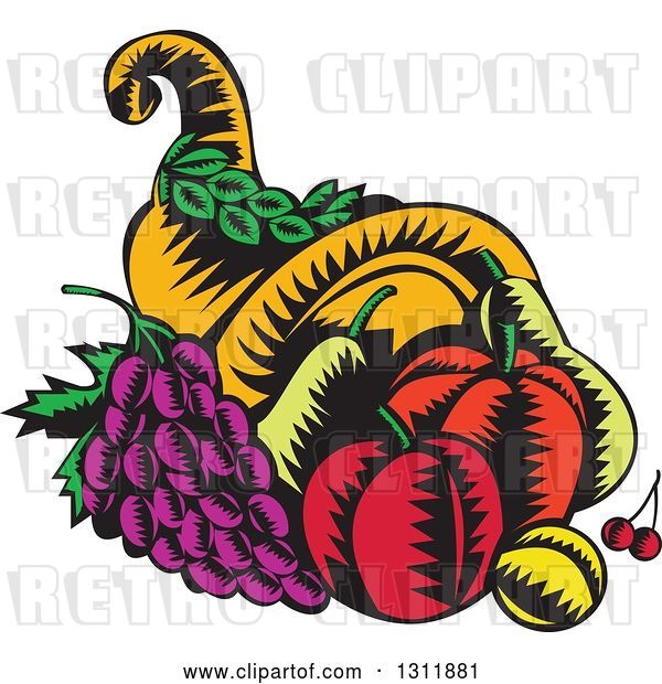 Vector Clip Art of Retro Woodcut Cornucopia Basket with Apples, Grapes, Cherries and a Plum