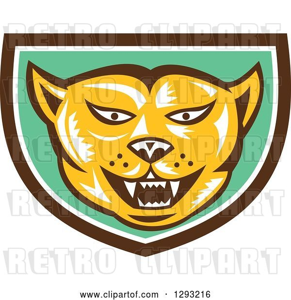 Vector Clip Art of Retro Woodcut Cougar Puma Mountain Lion Head in a Brown White and Green Shield