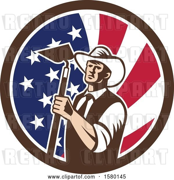 Vector Clip Art of Retro Woodcut Cowboy Farmer Holding a Hoe in an American Flag Circle