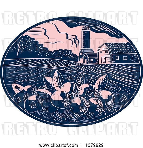 Vector Clip Art of Retro Woodcut Cranberry Farm with a Barn, Silo and Crops in a Pink and Navy Blue Oval