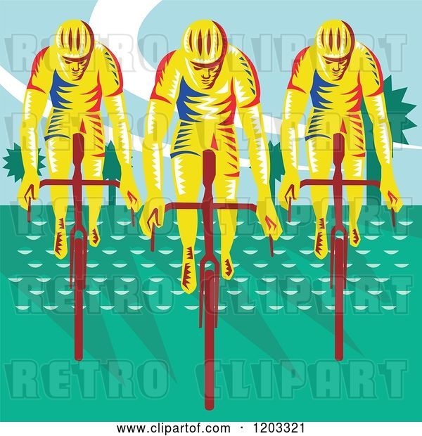 Vector Clip Art of Retro Woodcut Cyclist Trio on Bicycles