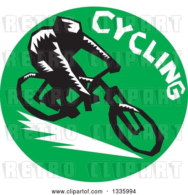 Vector Clip Art of Retro Woodcut Cyclist with Text in a Green Circle