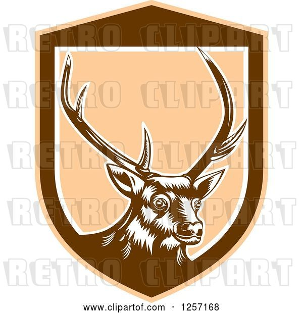 Vector Clip Art of Retro Woodcut Deer in a Brown and Tan Shield