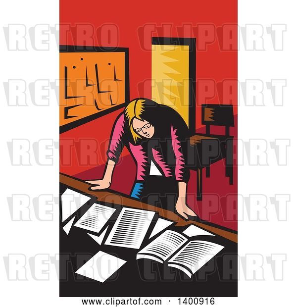Vector Clip Art of Retro Woodcut Depressed Female Teacher Looking down on a Desk with Books and Paper