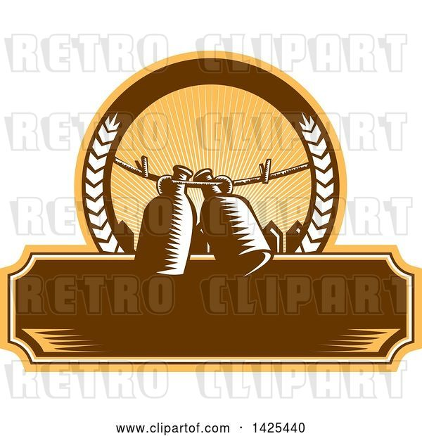 Vector Clip Art of Retro Woodcut Draft Beer Growler Jugs Hanging on a Clothesline over a Picket Fence in a Circle over a Blank Banner