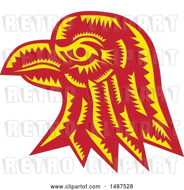 Vector Clip Art of Retro Woodcut Eagle Head in Profile