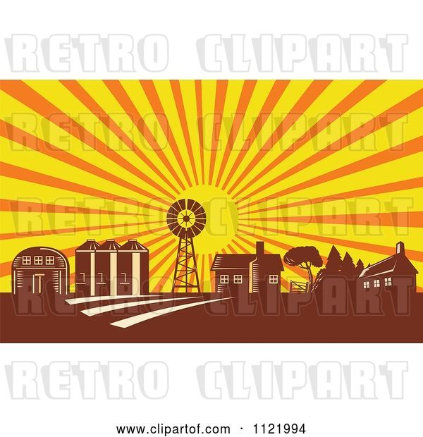 Vector Clip Art of Retro Woodcut Farm with a Windmill House Barn and Silos at Sunrise