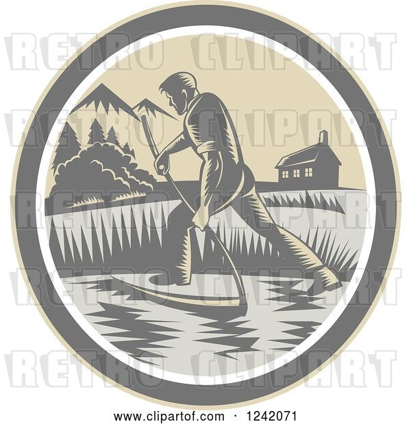 Vector Clip Art of Retro Woodcut Farmer with a Scythe in a Field Circle