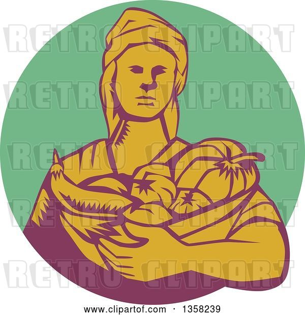 Vector Clip Art of Retro Woodcut Female Farmer Holding a Basket of Harvest Produce in a Green Purple and Yellow Circle