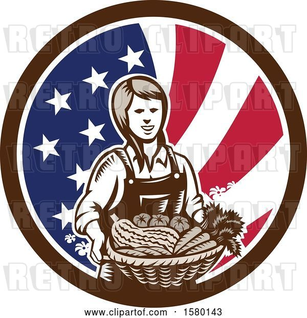 Vector Clip Art of Retro Woodcut Female Farmer Holding a Basket of Produce in an American Flag Circle