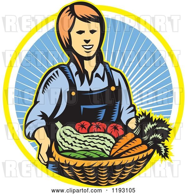 Vector Clip Art of Retro Woodcut Female Farmer with a Basket Full of Organic Produce over a Ray Circle