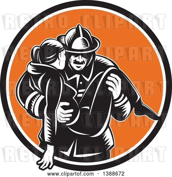 Vector Clip Art of Retro Woodcut Firefighter Carrying a Lady in a Black White and Orange Circle