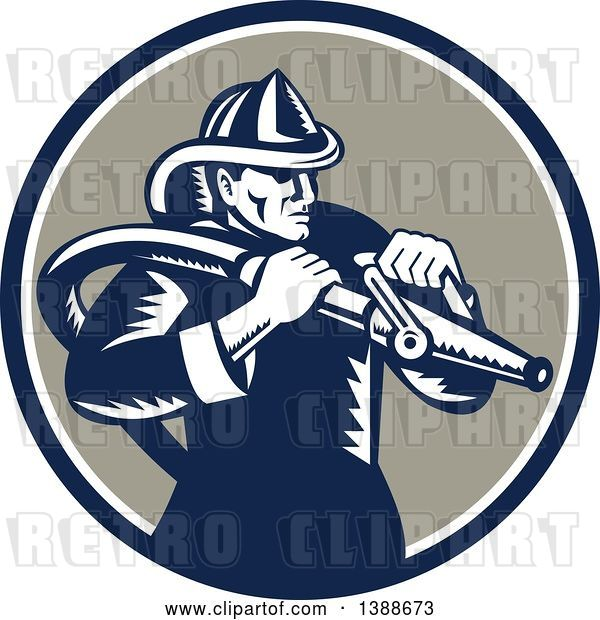 Vector Clip Art of Retro Woodcut Firefighter Holding a Hose in a Blue White and Taupe Circle