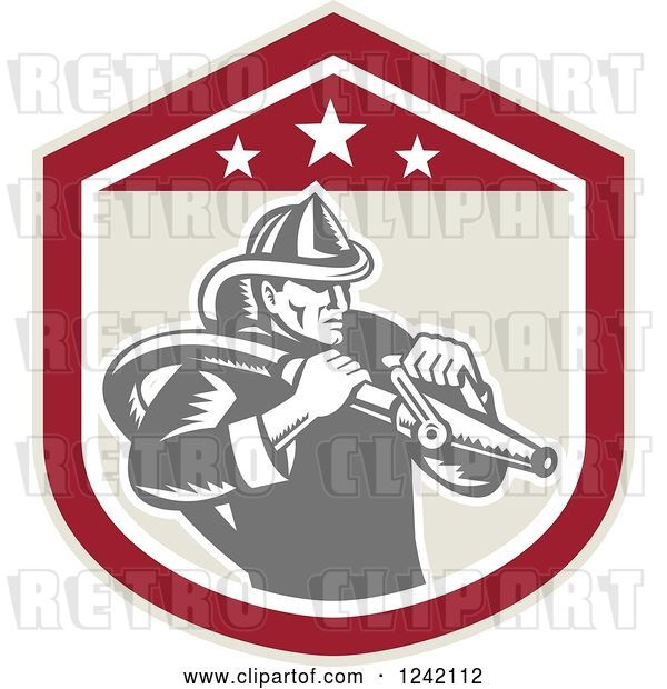 Vector Clip Art of Retro Woodcut Firefighter Wielding a Hose in a Shield