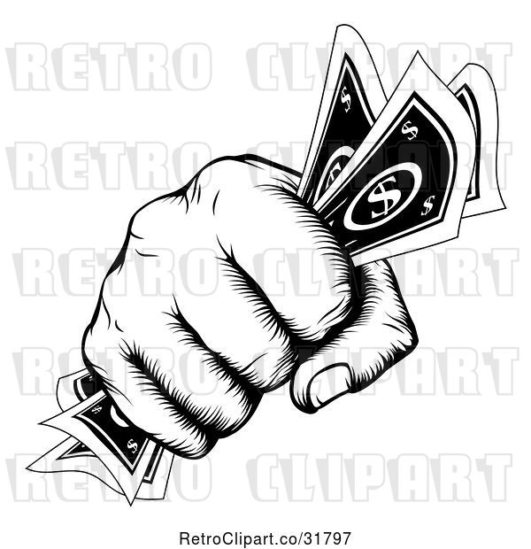 Vector Clip Art of Retro Woodcut Fist Holding Cash Money