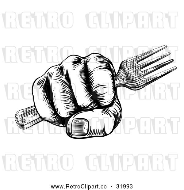 Vector Clip Art of Retro Woodcut Fisted Hand Holding a Fork