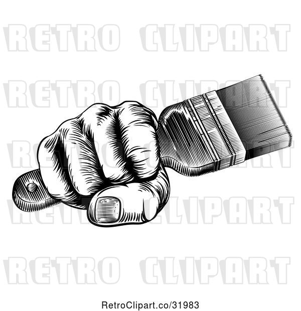 Vector Clip Art of Retro Woodcut Fisted Hand Holding a Paintbrush