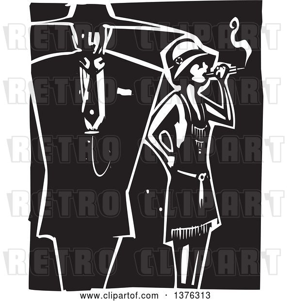 Vector Clip Art of Retro Woodcut Flapper Girl Smoking a Cigarette by a Guy in a Zoot Suit