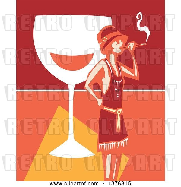 Vector Clip Art of Retro Woodcut Flapper Girl Smoking a Cigarette over a Giant Glass of Wine