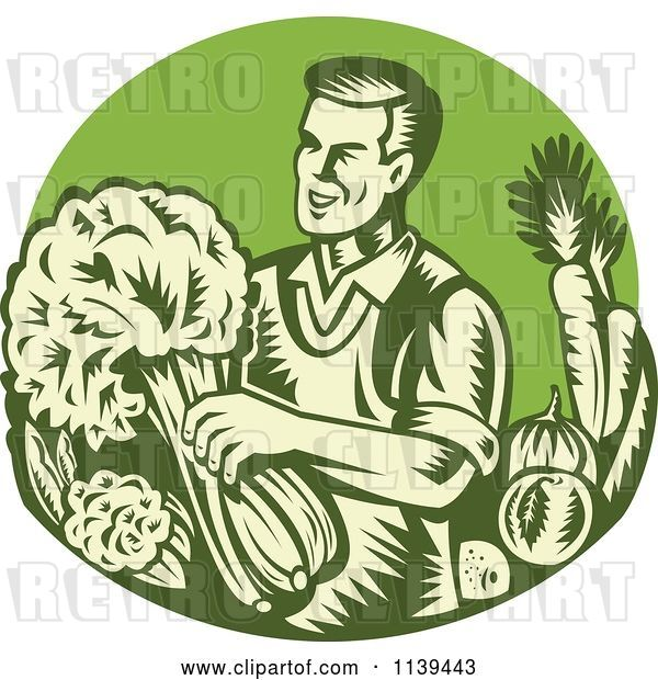 Vector Clip Art of Retro Woodcut Green Organic Farmer with with Produce