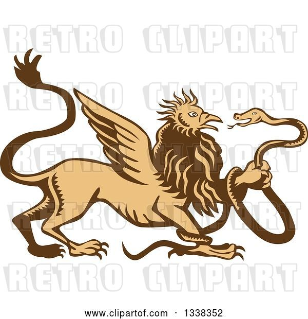 Vector Clip Art of Retro Woodcut Griffin Creature Holding a Snake