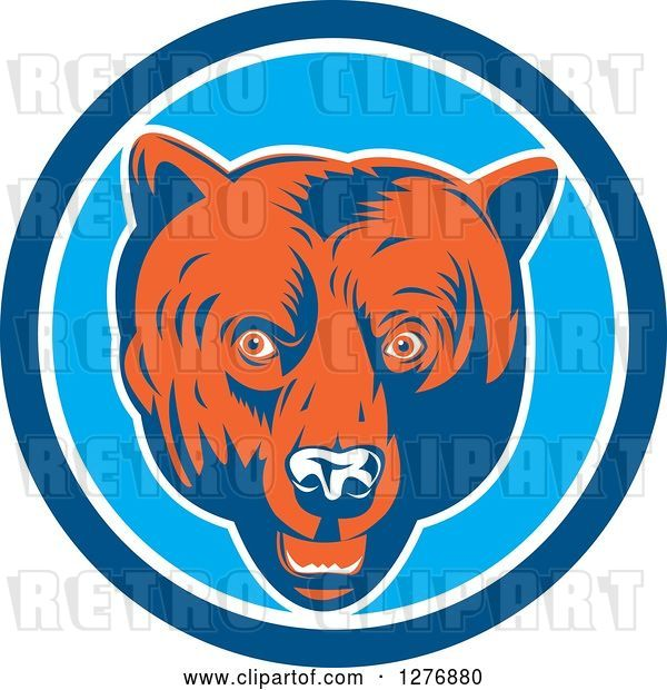 Vector Clip Art of Retro Woodcut Grizzly Bear Head in a Blue and White Circle