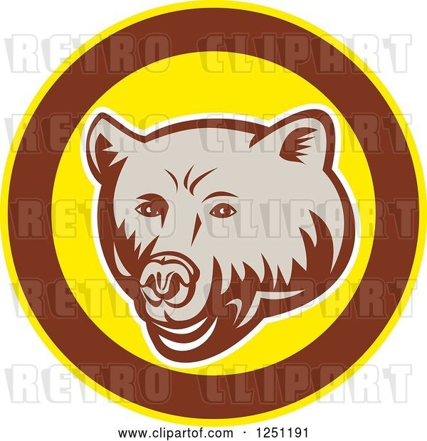 Vector Clip Art of Retro Woodcut Grizzly Bear in a Brown and Yellow Circle