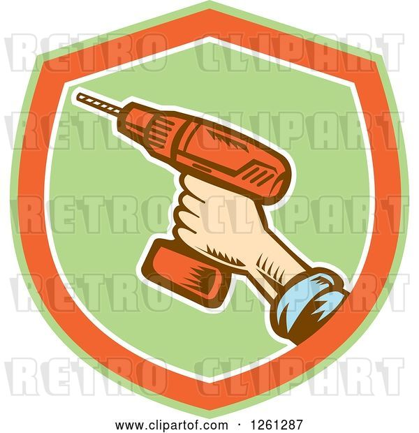 Vector Clip Art of Retro Woodcut Hand Holding a Cordless Drill in a Green Orange and White Shield