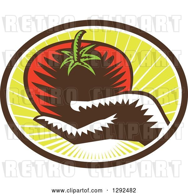 Vector Clip Art of Retro Woodcut Hand Holding a Plump Tomato in a Brown White and Green Sunshine Oval